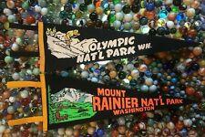 2 Vintage Washington Souvenir Felt Pennants Mt. Rainier & Olympic Nat'l Parks