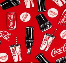 NEW COKE COCA COLA BOTTLES FLEECE FABRIC BLANKET MATERIAL BY 1/2 YARD CRAFTS
