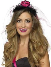 Braut Diadem mit Schleier pink-schwarz NEU - Karneval Fasching Hut Mütze Kopfbed