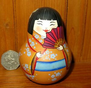 Cute Wobbly doll Japan Geisha MATT ROLY POLY SMALL Girl RUSSIAN HAND PAINTED