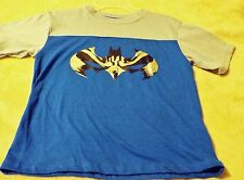 BATMAN Boy's Size Medium(5/6) T-shirt Blue With Black And Silver Logo On Front