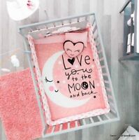 Baby Girl Pink Moon CRIB SET Bedding Comforter Gift Nursery Stars x6 100% COTTON