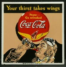 """Dollhouse Miniatures Metal Sign Advertising Racer Wings COCA COLA 2"""" x 2"""""""