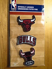 Official Licensed NBA Chicago Bulls Embroidered Patch Pin Set