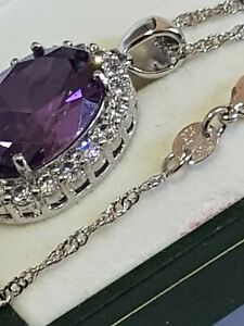 Sterling Silver Simulated Amethyst with Cz Cubic Zirconia Elements Pendent Chain