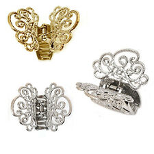Set of 3 Metal GOODY CLAW CLIPS HAIR ACCESSORY 2 SILVER + GOLD CLIP 4 x 5 cm