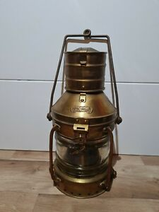 "Vintage Brass & Copper Anchor Oil Lamp Maritime Ship Lantern Boat Light 13.5"""