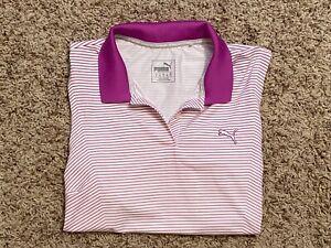 Puma Dry Cell Womens Golf Tennis Shirt Top Striped Sleeveless Stretch Size M