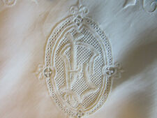 antique french pure linen pillowcase monogram embroided lace white work handmade