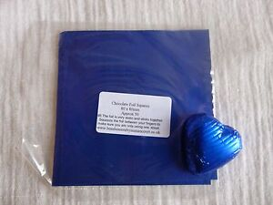 40 - 50 Square Foil Wrappers in Royal Blue for Chocolates & Sweets. 80mm x 80mm.