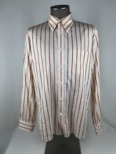 Hugo Boss L/S Button Down Shirt Peach Striped 100% Cotton Mens SZ L Red Label