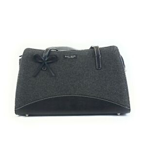Kate Spade Grey Wool & Black Leather Handbag With Accent Bow