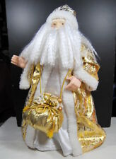 Santa Father Christmas Large 2' Tall Tree Topper Display Gold Brocade Robe