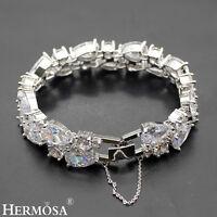 "34PCS. Genuine White Topaz & Cubic Zirconia HANDMADE 925 Silver Bracelet 7"""