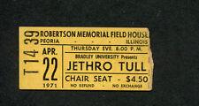 1971 Jethro Tull concert ticket stub Peoria IL Aqualung Ian Anderson