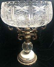 Gorgeous Huge Vintage Cut Glass Bowl Compote On Pedestal Italy