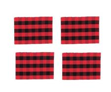 C & F Quilted Products Red and Black Buffalo Check Rectangle Placemats-Set of 4