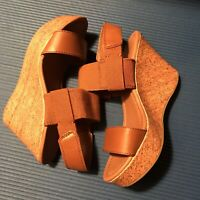Cato Brown cork Wedge Slip On Sandals size 8 With Stretchable Straps