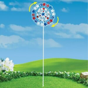 4th of July Patriotic American Stars Double Kinetic Wind Spinner Garden Stake