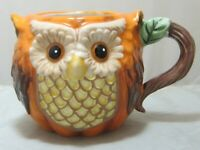 Gorgeous Fall Autumn Pumpkin Owl Figural Coffee Mug Cracker Barrel MINT 16oz