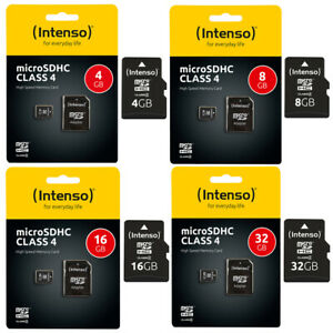Intenso Micro SD Karte Speicherkarte 4GB - 32GB Class 4 SDHC Memory MicroSD C4