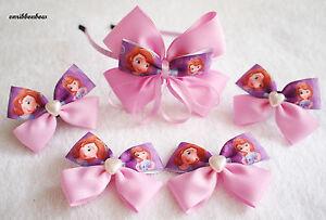 Handmade girl children Princess Sophia ribbon bow hair clips bobbles headband