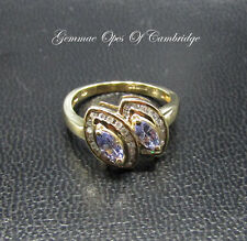9K Gold 9ct Gold Twin Tanzanite and Diamond Cluster Ring Size L 2.8g
