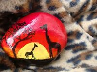 Giraffe sunset pebble art - hand painted stone, paperweight, garden ornament