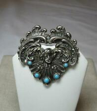 Persian Turquoise Angel Cherub Brooch Sterling Silver Wedding Jewelry c1880 Rare