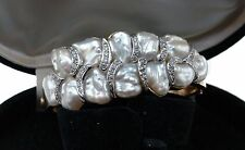 Amazing Genuine Japanese BIWA Lake PEARL 1950's Yellow 14k Gold BRACELET $15,000