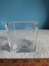 Avon Happy Holidays 1984 Square Glass Snowflake Candle Holder Vase
