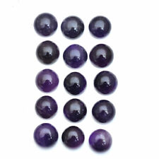 15 Pcs Natural Rich Purple Amethyst Round Cabochon Untreated Gemstones ~ 192 Cts
