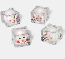 Set of 4 Department 56 Glass Snowman Votive Candle Holders Ice Cube Holder