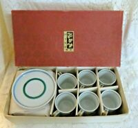 Antique Set of 6 Japanese Porcelain Tea Cups And Saucers
