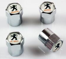 Peugeot White & Chrome Wheel Valve Dust Caps. GTI 207 206 307 107 RCZ