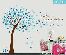 Peach blossom Blue flower tree Wall decal Removable sticker kids nursery decor