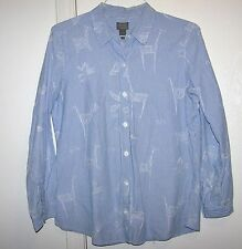 Additions by Chico's Womens Blue & White Striped Buttondown Zoo Animals Size 2