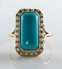LARGE 9CT 9K GOLD  PERSIAN TURQUOISE & PEARL ART DECO INS RING FREE RESIZE