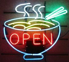 "New Noodle Bowl Open Neon Light Sign 24""x20"" Lamp Poster Real Glass Beer Bar"