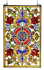 Medallion Tiffany Style Stained Glass Window Panel 20 x 32 ~LAST ONE THIS PRICE~