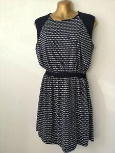 Dress Mango 12 Blue White Spot Round Neck Stretch Waist Cap Sleeve Stretch smart