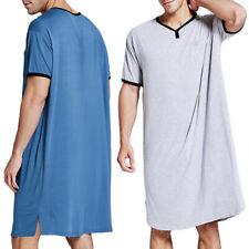 Men Comfy Loose Pajamas Long Nightwear Nightshirt Nightgown Loungewear Sleepwear