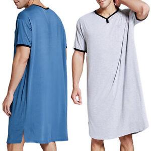 Mens Comfy Loose Pajamas Long Nightwear Nightgown Loungewear Soft Sleepwear Home