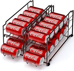 2 Pack Soda Beverage Can Pop Dispenser Refrigerator Organizer Stackable Rack