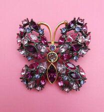Rhinestone Butterfly Brooch-Feeding America Donatio Joan Rivers Pink and Purple