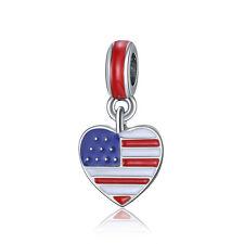 US Heart Flag Red White Blue Enamel Dangle Bead Suit 925 Silver Charms Bracelet