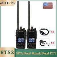Ham Radio Retevis RT52 Handheld Walkie Talkie SMS DMR 5W Dual Band GPS Dual PTT