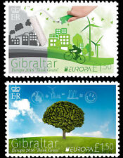 Europa Think Green 2 stamps mnh 2016 Gibraltar #1551-2 Bicycle Trees Windmill