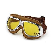 BANDIT Classic Goggle, Giallo Lente, moto occhiali, cuoio, marrone, per jethelme