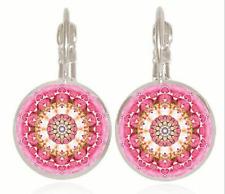 Mandala flower Tibet silver Glass cabochon 18 mm Lever Back Earrings #7778